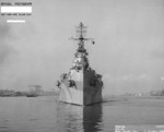 Bow view of USS Astoria, off Mare Island Naval Shipyard, California, United States, 21 Oct 1944
