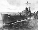 Light cruiser USS Atlanta coming alongside heavy cruiser USS San Francisco for refueling, 16 Oct 1942