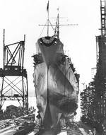 Atlanta slid down the building ways at her launching ceremony, Kearny, NJ, 6 Sep 1941