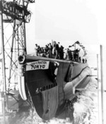 Launching of submarine Barbero, Groton, Connecticut, United States, 12 Dec 1943