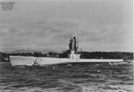 Port side view of USS Barbero, off Mare Island Naval Shipyard, Vallejo, California, United States, 21 Sep 1948