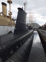Conning tower and view toward the aft of museum ship Becuna, Philadelphia, Pennsylvania, United States, 22 Oct 2011