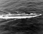 USS Bergall underway in the Atlantic Ocean, 1953