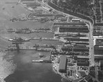 Puget Sound Navy Yard, Bremerton, Washington, United States, 25 Jul 1941, photo 1 of 4; note AVPs Barnegat, Biscayne, Casco, Mackinac, BB Colorado, AG Utah, AK Aroostook, and AR Prometheus