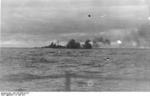 Bismarck firing on Hood and Prince of Wales, Battle of Denmark Strait, 24 May 1941, photo 7 of 8