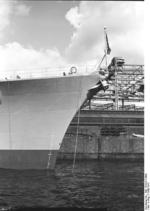 Close-up view of the bow of Bismarck, 1940-1941, photo 1 of 2