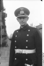 Commissioning ceremony of German battleship Bismarck, 24 Aug 1940, photo 03 of 10; portrait of Captain Ernst Lindemann