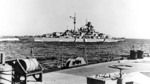 Bismarck at sea, seen from Prinz Eugen, 19 May 1941, photo 1 of 3