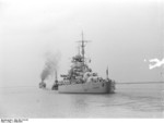 A tugboat guiding Bismarck at Brunsbüttel, Schleswig-Holstein, Germany, 15 Sep 1940, photo 5 of 7
