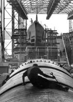 Submarines Blenny (background) and Cochino (foreground) under construction at the Electric Boat Company in Groton, Connecticut, United States, early Apr 1944