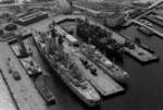 Blenny and other decommissioned warships at Norfolk, Virginia, United States, Nov 1983