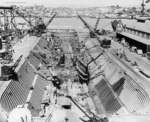 USS Boarfish and USS Blueback in the drydock at Mare Island Navy Yard, Vallejo, California, United States, 12 Jun 1946
