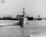 Bow view of USS Boarfish off Mare Island Navy Yard, Vallejo, California, United States, 9 Aug 1946