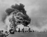 Carrier USS Bunker Hill burning after the second special attack off Okinawa, Japan, 11 May 1945