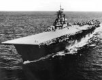 Carrier Bunker Hill underway, early 1945