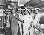 Eisenhower touring the galley of USS Canberra while en route to Bermuda, 14 Mar 1957