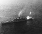 Guided missile cruiser Canberra firing a Terrier guided missile during training exercise, Atlantic Ocean, Feb 1957