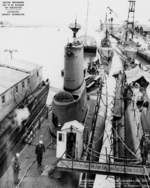 Aft plan view looking forward of USS Carbonero at Mare Island Naval Shipyard, California, United States, 18 Feb 1952, photo 2 of 2; note Diodon, Guitarro, Hardhead, and Juneau nearby