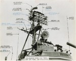View of antenna of USS Cassin Young immediately after her overhaul at Boston Naval Shipyard, Massachusetts, United States, 1 Oct 1958