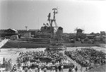 USS Cassin Young being dedicated as a memorial ship, Pier 1 East, Charlestown Navy Yard, Massachusetts, United States, 27 Jun 1981