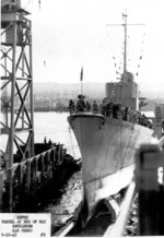 Launching of USS Cassin Young, Bethlehem Shipbuilding Corporation shipyard, San Pedro, California, United States, 12 Sep 1943