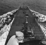 Bow of USS Cero seen from the conning tower, New London, Connecticut, United States, Aug 1943, photo 4 of 4