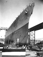 Chicago being prepared for launching, at the Mare Island Navy Yard, California, 8 Apr 1930