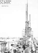 Superstructure of USS Cod during overhaul, Mare Island Naval Shipyard, California, United States, Feb 1945