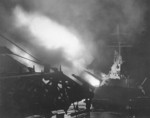 USS Columbia bombarding Japanese positions on Bougainville, Solomon islands, 1 Nov 1943