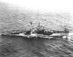 USS Columbia underway, late 1944; note Measure 31-32-33 Design 3d camouflage