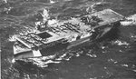 USS Copahee off Saipan, Mariana Islands, 8 Jul 1944; note captured Japanese aircraft on flight deck