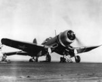 F4U-1 Corsair fighter of US Marine Corps fighter squadron VMF-213