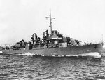 Cotten, circa Jul 1943 off New York City, when she was first completed; note the photo had been retouched by war-time censors to remove radar antennas and Mark 37 gun director, photo 2 of 2