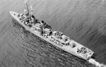 Aerial photo of Cotten underway off New York City, 14 Aug 1943