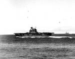 Enterprise and Northampton underway during Battle of Midway, 4 Jun 1942