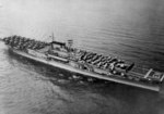 Aerial view of carrier Enterprise underway, 12 Apr 1939