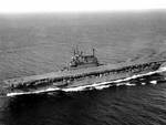 Enterprise making 20 knots during post-overhaul trials, Puget Sound, 13 Sep 1945