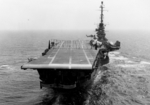 USS Essex showing crash barrier, S2F-1 Tracker aircraft, and HSS-1 Seabat helicopters, 17 Jul 1961