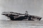 USS Essex departing San Francisco Naval Shipyard, California, United States, 15 Apr 1944, photo 2 of 4; note camouflage measure 32 design 6/10D