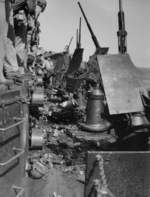 Special attack damaged USS Essex, late Nov 1944; note Oerlikon cannon and ammunition cans