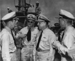 Vice Admiral Charles Lockwood aboard USS Flying Fish, Pearl Harbor, US Territory of Hawaii, 4 Jul 1945