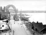 HMS Formidable berthed at the Circular Quay, Sydney, Australia, circa Jan 1945