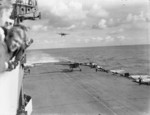 Barracuda aircraft landing on HMS Formidable after attacking Tirpitz, Norwegian Sea, Aug 1944