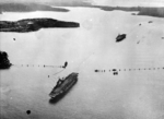 HMS Formidable and HMS Implacable entering Sydney harbor, Australia, 24 Aug 1945