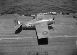 Martlet II fighter of No. 888 Squadron FAA shortly after landing on HMS Formidable, 1942
