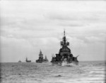 Force H warships HMS Duke of York, HMS Nelson, HMS Renown, HMS Formidable, and HMS Argonaut underway off North Africa, Nov 1942