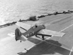Martlet fighter of No. 888 Squadron FAA taking off from HMS Formidable, Mediterranean Sea, circa 1942-1943