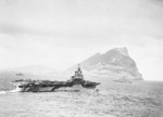 HMS Formidable and two destroyers off the Rock of Gibraltar, 1940s; photo taken from HMS Rodney