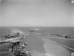 Seafire fighter of No. 885 Squadron FAA landing on HMS Formidable, off Gibraltar, mid-1942 to 1945.