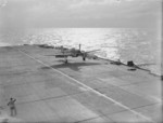 Fulmar aircraft of No. 803 Squadron FAA landing on HMS Formidable in the Indian Ocean off Madagasgar, late Apr to early May 1942